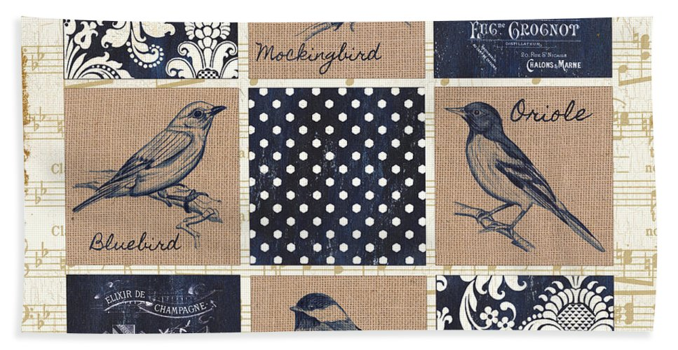 Birds Hand Towel featuring the painting Vintage Songbird Patch 2 by Debbie DeWitt