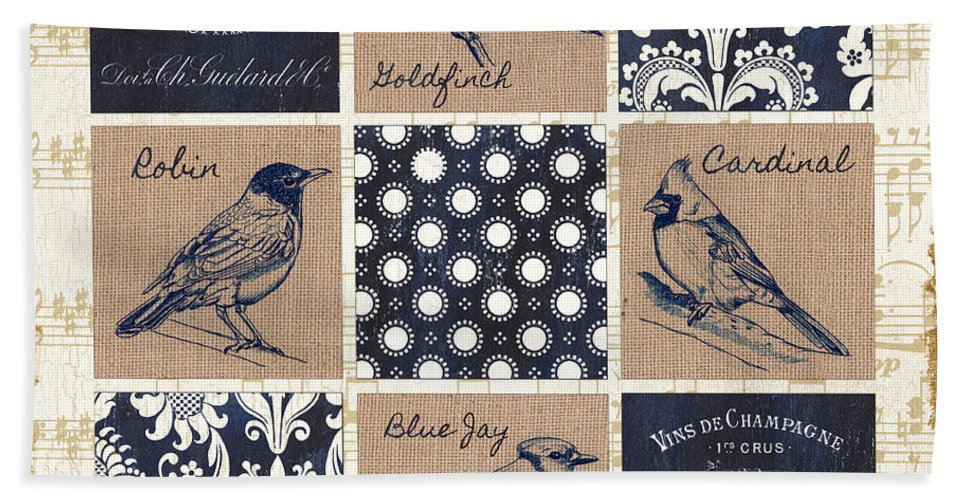 Birds Hand Towel featuring the painting Vintage Songbirds Patch by Debbie DeWitt