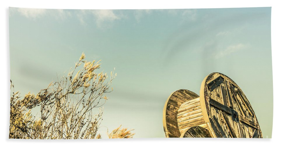 Shabby Hand Towel featuring the photograph Vintage Spools And Farmyard Skies by Jorgo Photography - Wall Art Gallery