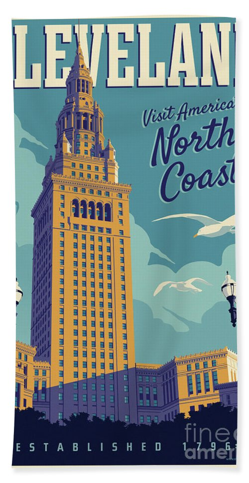 Cleveland Hand Towel featuring the digital art Cleveland Poster - Vintage Style Travel by Jim Zahniser