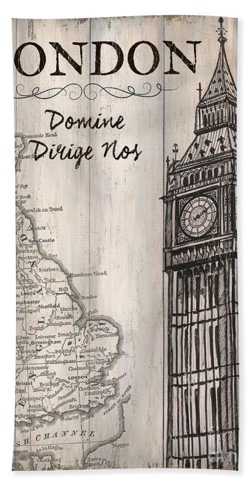 London Bath Towel featuring the painting Vintage Travel Poster London by Debbie DeWitt