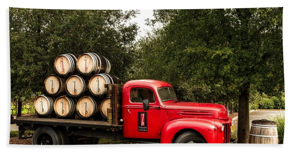 Wine Bath Towel featuring the photograph Vintage Truck With Wine Barrels by Mountain Dreams