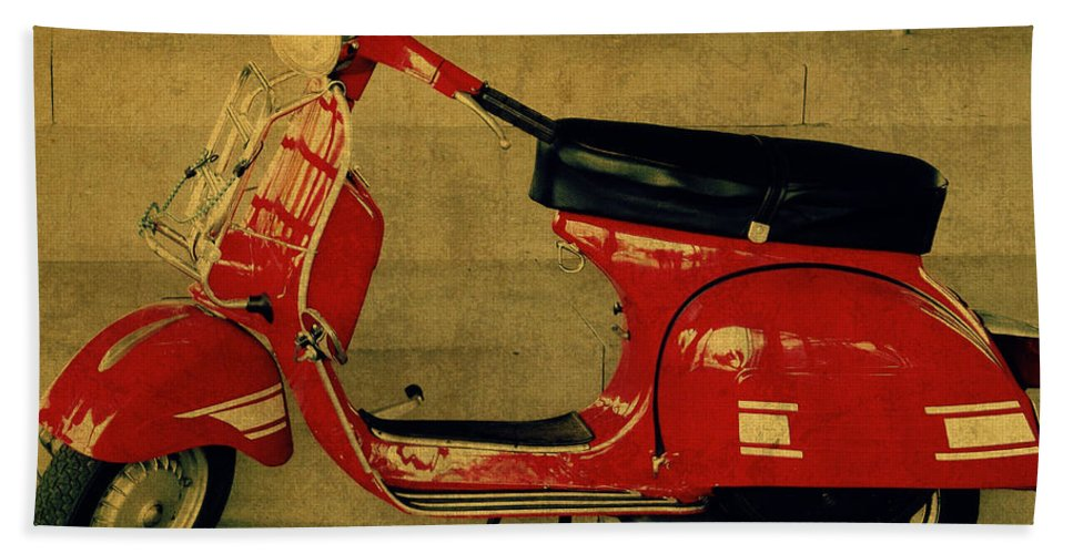 Vintage Hand Towel featuring the mixed media Vintage Vespa Scooter Red by Design Turnpike