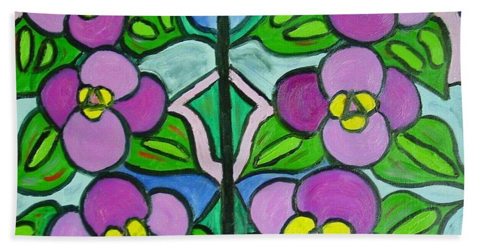 Violets Hand Towel featuring the painting Vintage Violets by Laurie Morgan