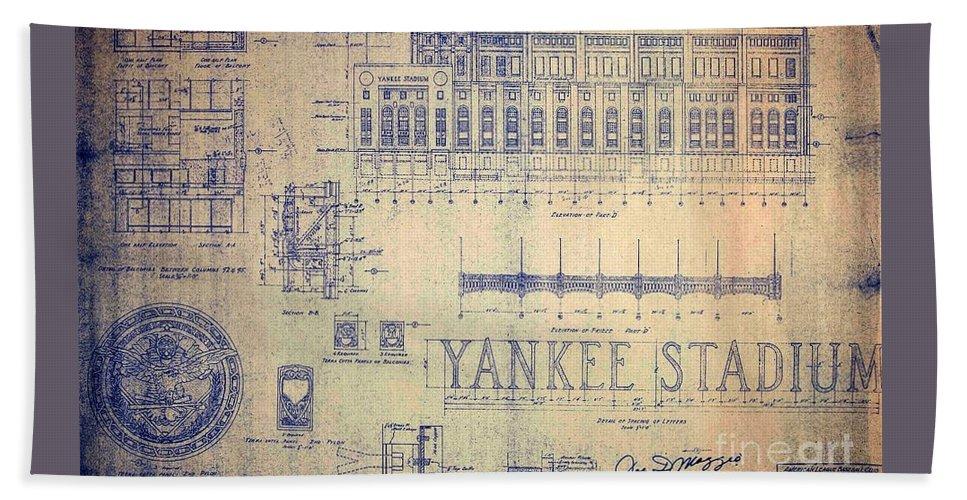Joe Dimaggio Bath Towel featuring the drawing Vintage Yankee Stadium Blueprint by Peter Ogden Gallery