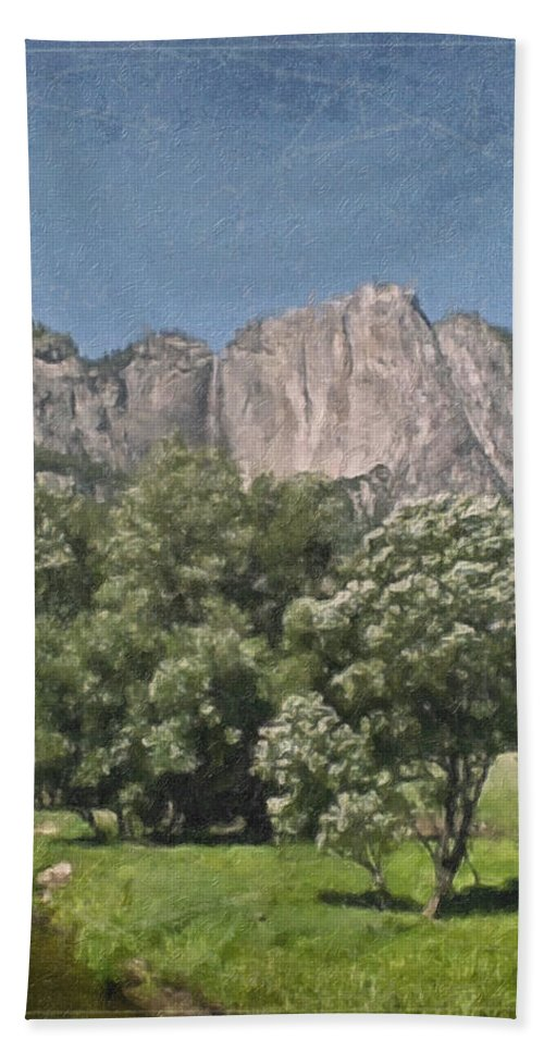 Landscape Bath Sheet featuring the painting Vintage Yosemite by Teresa Mucha