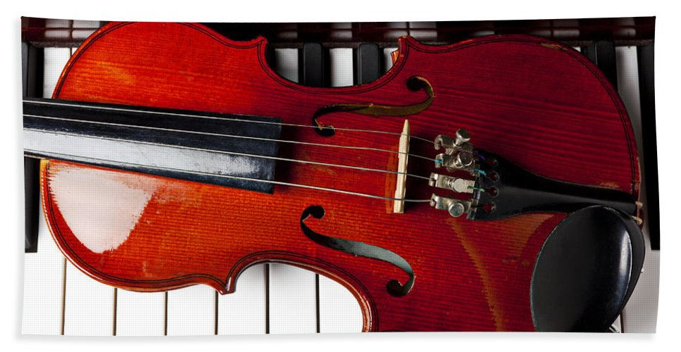 Violin Bath Sheet featuring the photograph Viola On Piano Keys by Garry Gay
