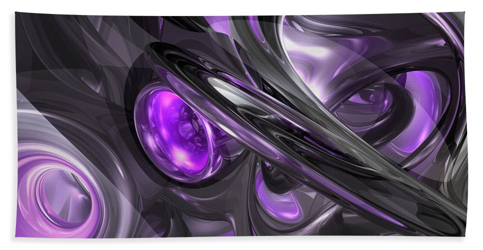 3d Hand Towel featuring the digital art Violaceous Abstract by Alexander Butler