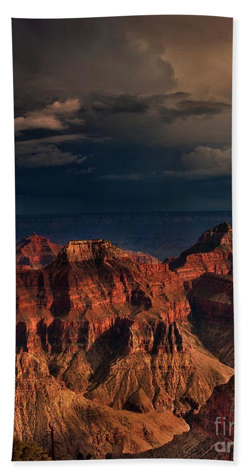 Dave Welling Hand Towel featuring the photograph Violent Storm Over The North Rim Grand Canyon National Park Arizona by Dave Welling