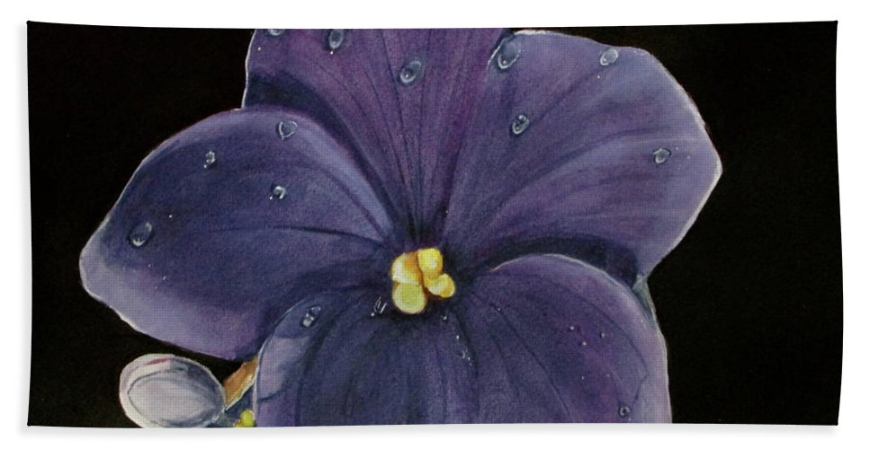 Violet Painting Bath Sheet featuring the painting Violet by Carol Blackhurst