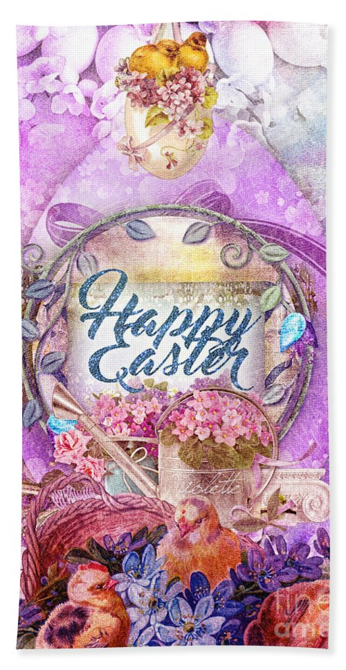 Violet Easter Bath Sheet featuring the painting Violet Easter by Mo T