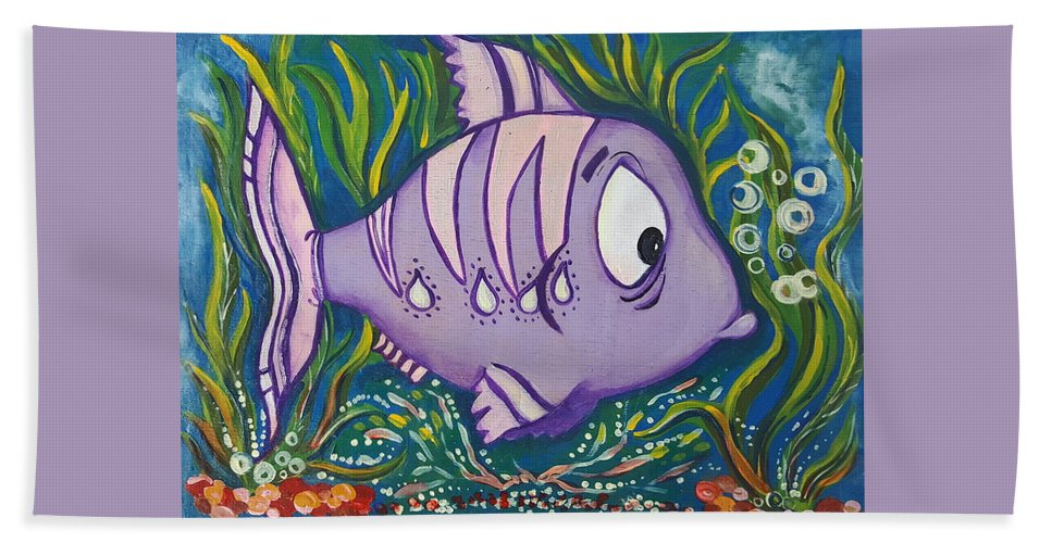 Fish Bath Towel featuring the painting Violet Fish by Rita Fetisov