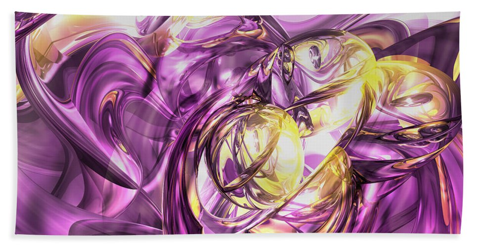 3d Hand Towel featuring the digital art Violet Summer Abstract by Alexander Butler