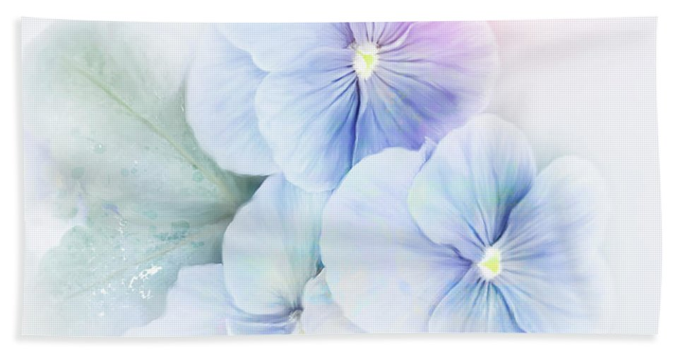 Violet Hand Towel featuring the digital art Violets Flowers Watercolor by Svetlana Foote