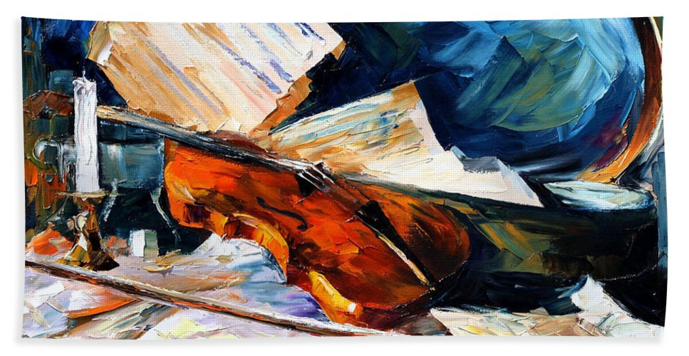 Music Bath Sheet featuring the painting Violin by Leonid Afremov
