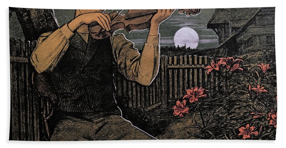 Hans Thoma Bath Sheet featuring the drawing Violin Player To The Moon by Hans Thoma
