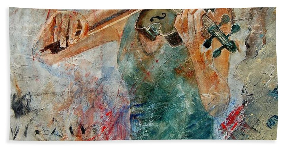 Music Hand Towel featuring the painting Violinist 56 by Pol Ledent