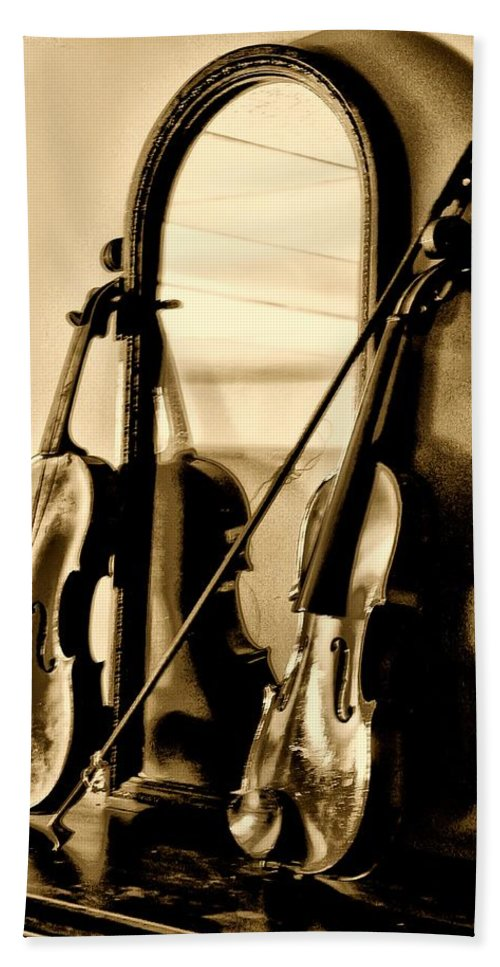 Violin Bath Sheet featuring the photograph Violins by Bill Cannon