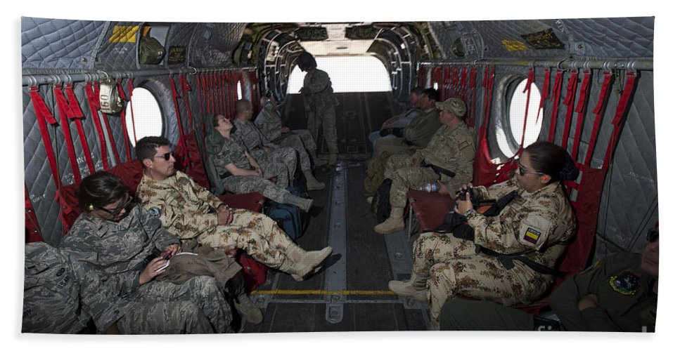 Exercise Angel Thunder Bath Sheet featuring the photograph Vips In A Ch-47 Chinook Helicopter by Terry Moore