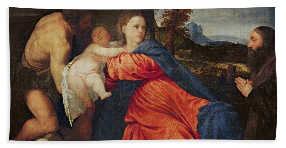 Virgin Hand Towel featuring the painting Virgin And Infant With Saint John The Baptist And Donor by Titian