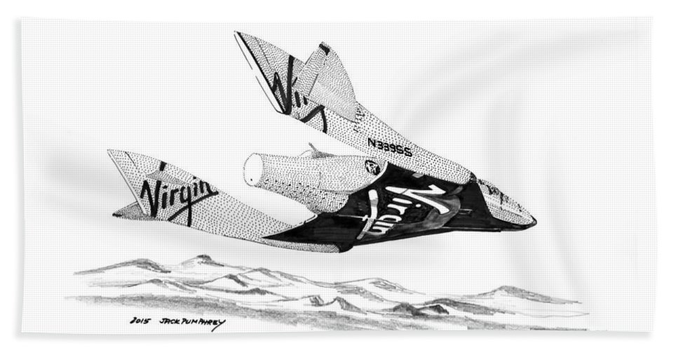 Ink Rendering Of Virgin Galactic Vehicle. Spaceship Two Which Is A Reusable Bath Sheet featuring the drawing Virgin Galactic Vehicle. Space Ship Two by Jack Pumphrey