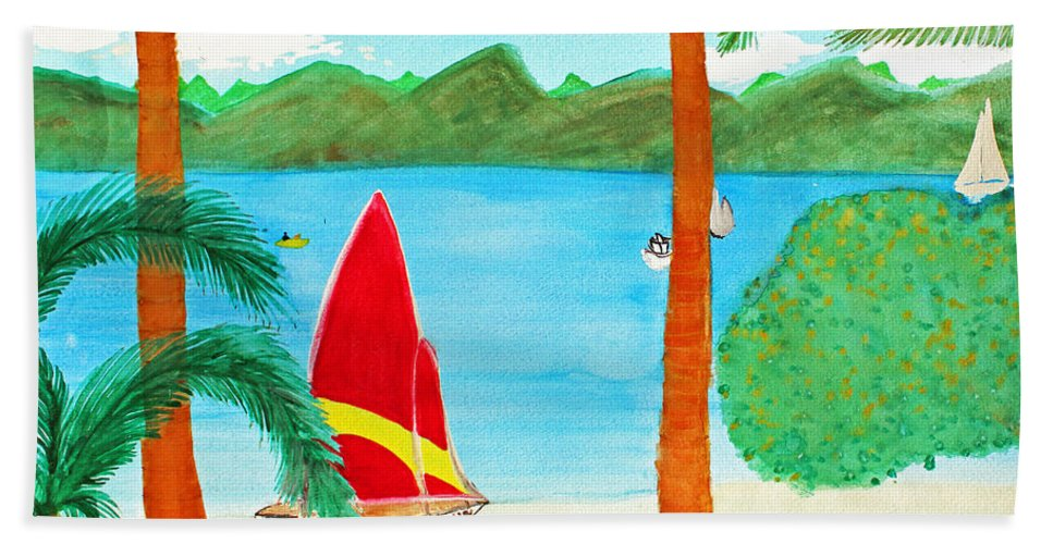 Art Bath Sheet featuring the painting Virgin Island Memories by Lee Serenethos