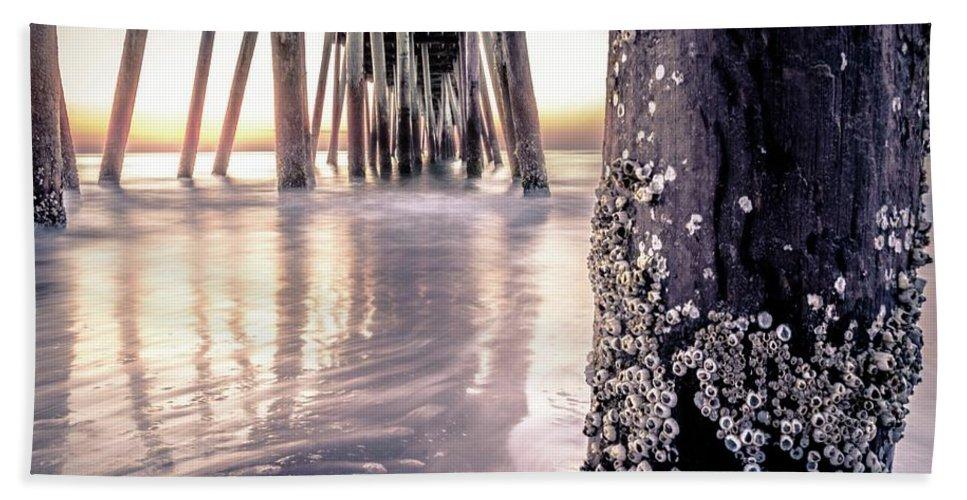 Sunrise Bath Sheet featuring the photograph Virginia Beach Pier 2 by Larkin's Balcony Photography