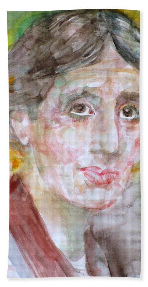 Virginia Woolf Hand Towel featuring the painting Virginia Woolf - Watercolor Portrait.7 by Fabrizio Cassetta