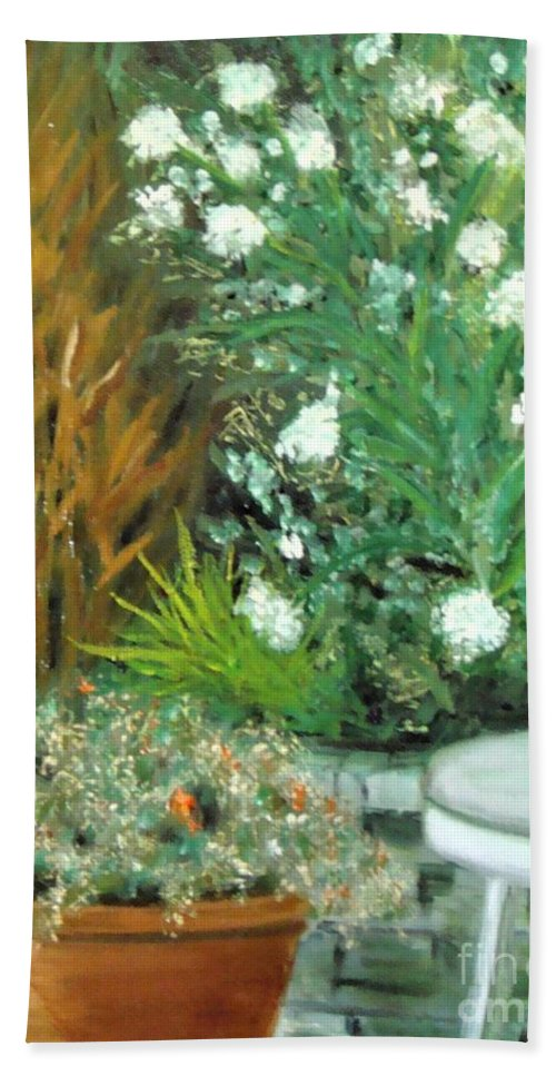 Plein Air Bath Sheet featuring the painting Virginia's Garden by Laurie Morgan
