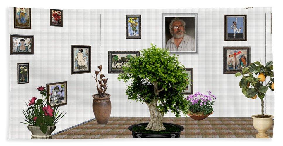 Modern Painting Bath Sheet featuring the mixed media Virtual Exhibition - Bonsai 13 by Pemaro