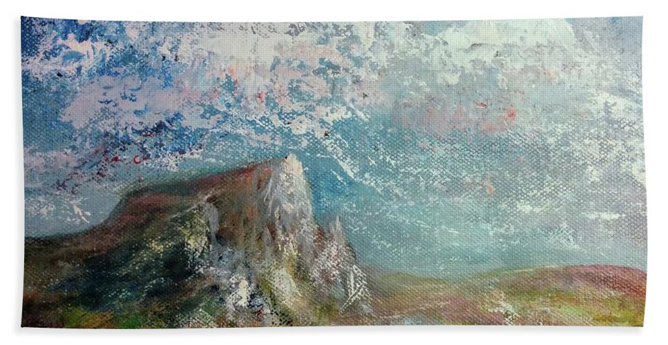 Hand Towel featuring the painting Virtual Mountain by Anthony Camilleri