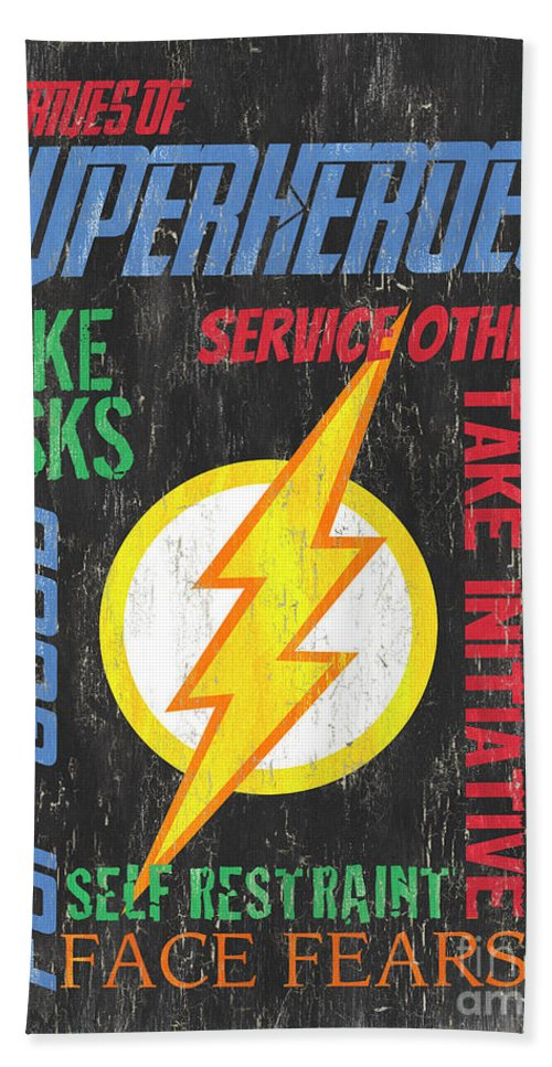 Superhero Bath Towel featuring the painting Virtues of A Superhero 2 by Debbie DeWitt