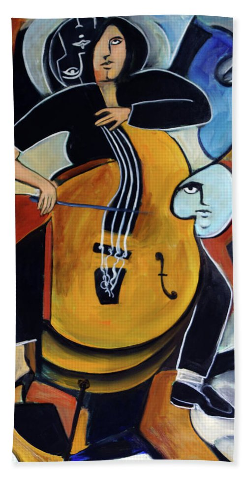 Cellist Hand Towel featuring the painting Virtuoso by Valerie Vescovi