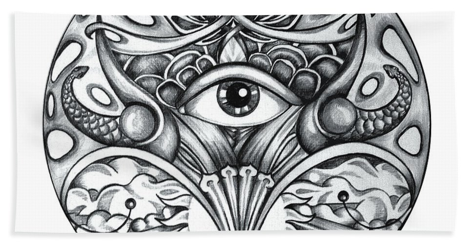 Eye Hand Towel featuring the drawing Vision by Shadia Derbyshire