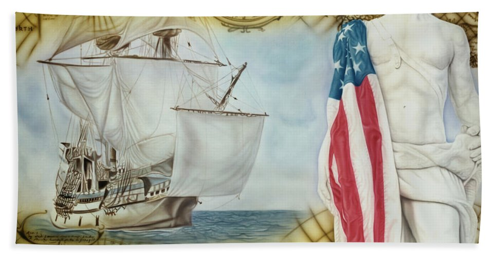 Ships Hand Towel featuring the painting Visions Of Discovery by Rich Milo