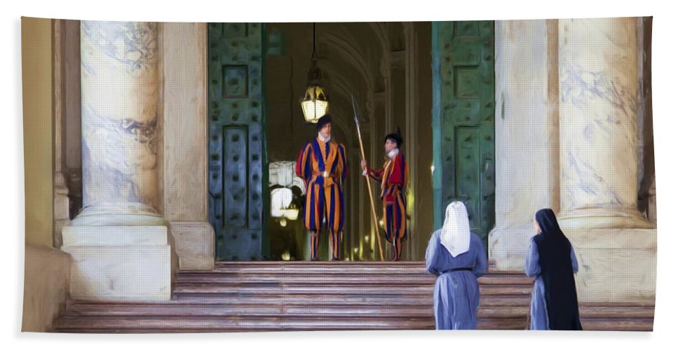 Rome Hand Towel featuring the painting Visitors by Janet Fikar