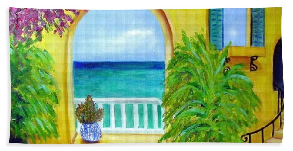 Patio Bath Towel featuring the painting Vista Del Agua by Laurie Morgan
