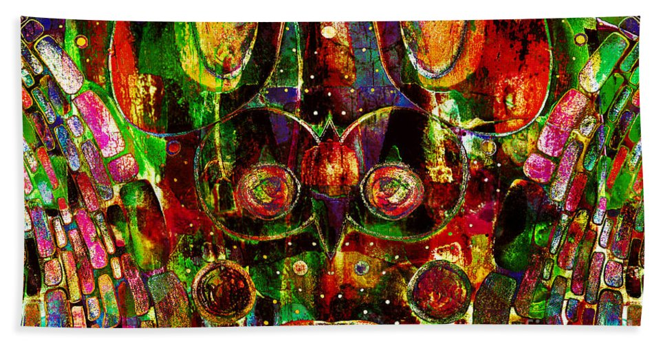 Abstract Hand Towel featuring the mixed media Visual Art by Jolanta Anna Karolska