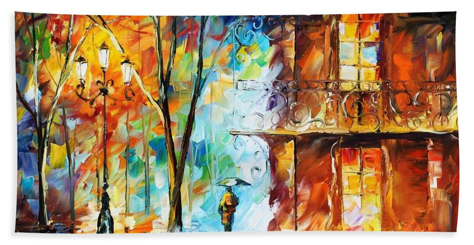 Afremov Bath Sheet featuring the painting Vitebsk by Leonid Afremov