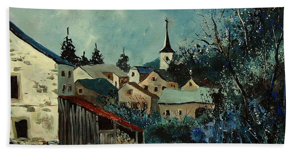 Village Hand Towel featuring the painting Vivy Bouillon by Pol Ledent