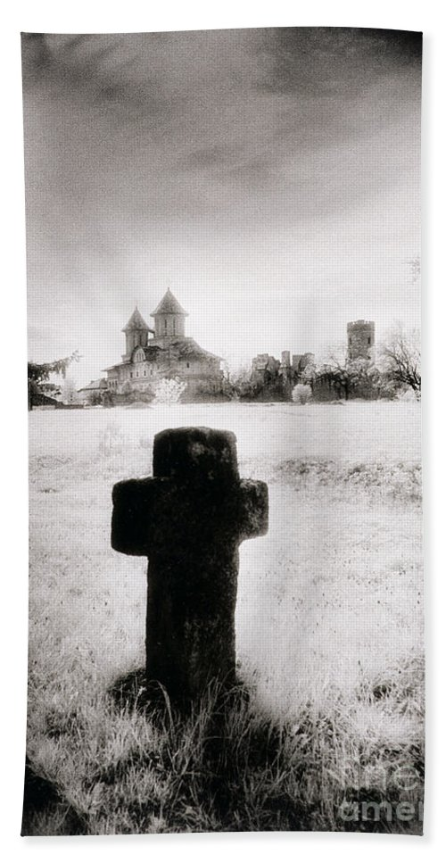 Vampire; Ghostly; Cross; Tombstone; Dracula Hand Towel featuring the photograph Vlad Draculas Palace by Simon Marsden