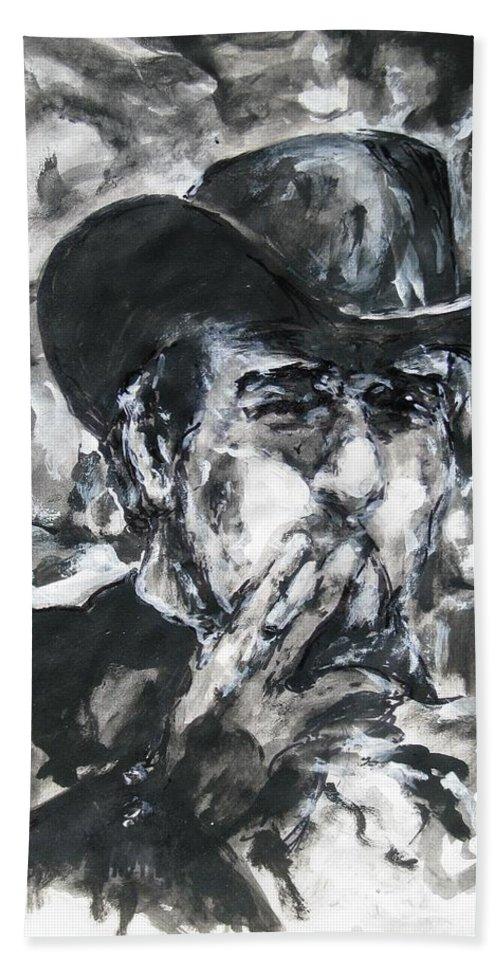 Vladimir Staer Bath Sheet featuring the painting Vladimir Staer, Portrait by Sviatoslav Alexakhin