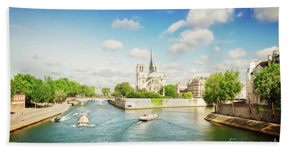 Notre-dame Hand Towel featuring the photograph Notre Dame And River Seine by Anastasy Yarmolovich