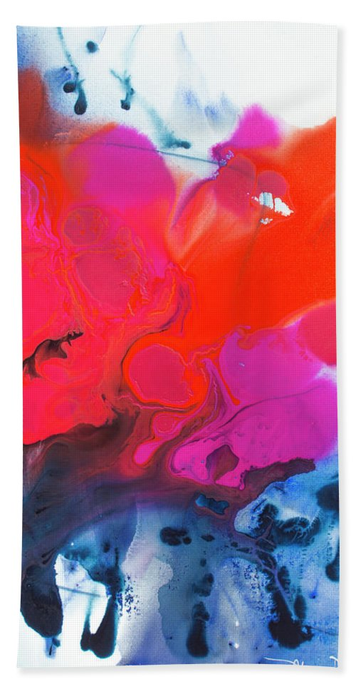 Abstract Hand Towel featuring the painting Voice by Claire Desjardins