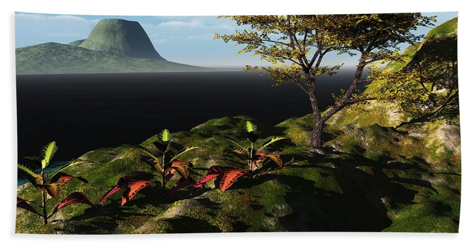 3d Render 3 Dimensional Art Bath Sheet featuring the digital art Volcano View by David Lane