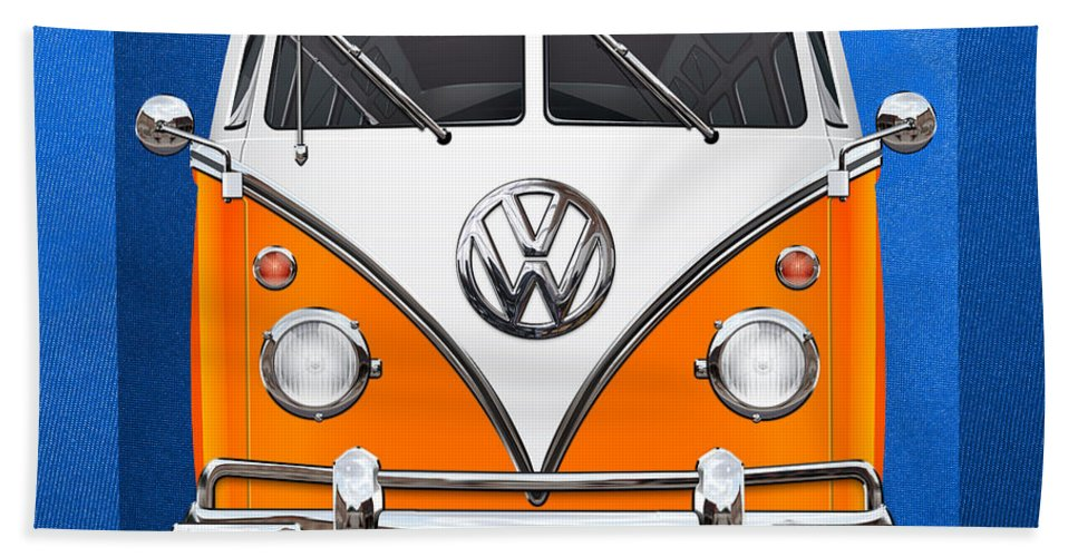 'volkswagen Type 2' Collection By Serge Averbukh Hand Towel featuring the photograph Volkswagen Type - Orange and White Volkswagen T 1 Samba Bus over Blue Canvas by Serge Averbukh
