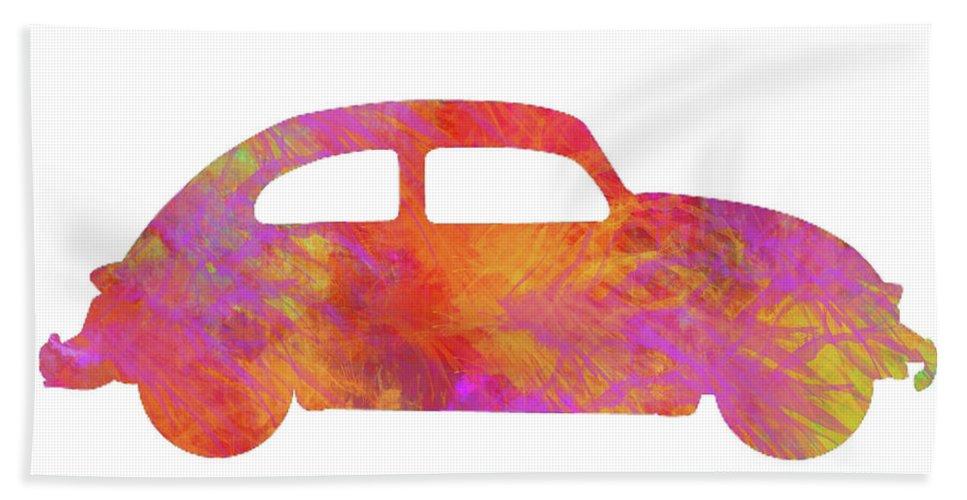 Ken Bath Sheet featuring the painting Volkswagom Beetle Art Flames by Ken Figurski