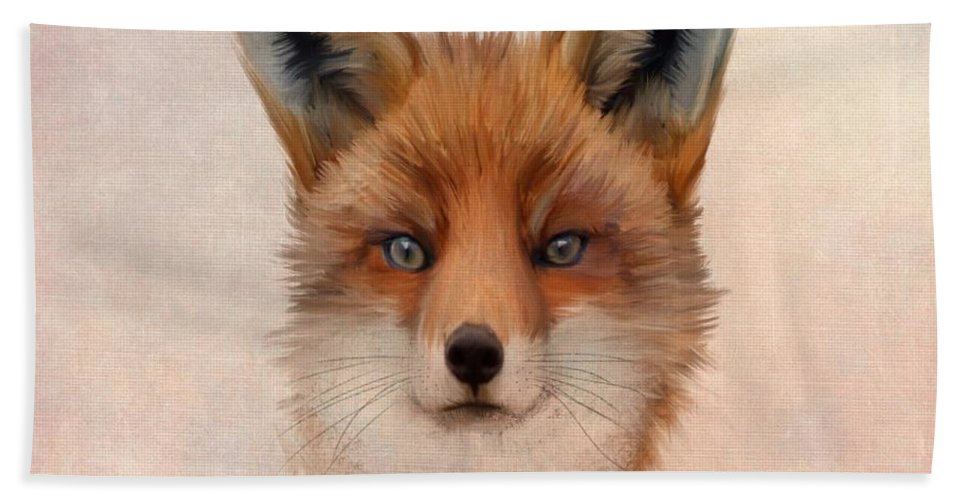 Animal Hand Towel featuring the painting Vulpes Vulpes by John Edwards