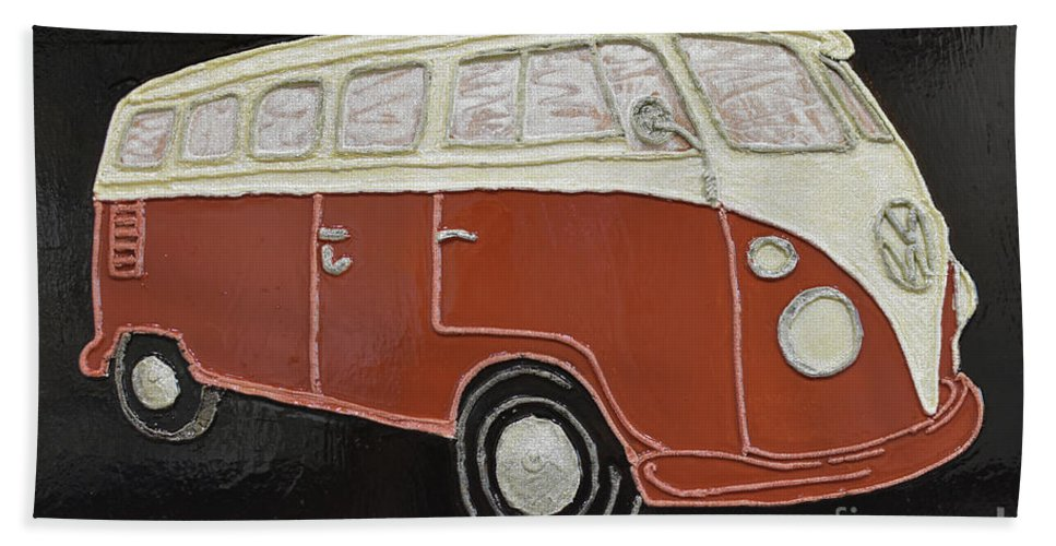Vw Bus Bath Sheet featuring the painting Vw Bus by Christine Dekkers