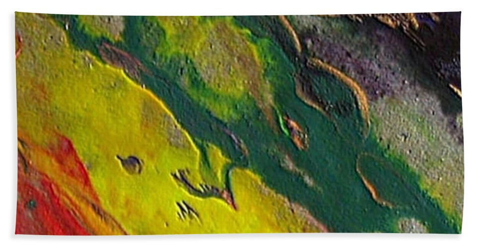Abstract Encaustic Painting Hand Towel featuring the painting W 048 by Dragica Micki Fortuna